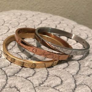 Jewelry - Cartier inspired LOVE bracelets trio set